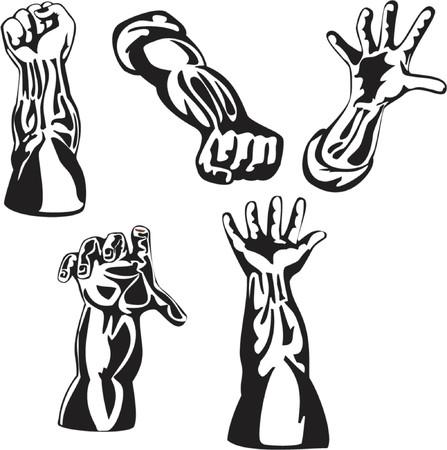 Stile retrò mani serie in bianco e nero Vettoriali