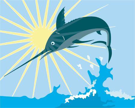 marlin: Blue marlin leaping