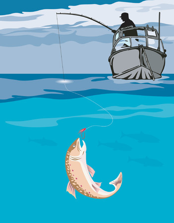 Fisherman catching trout Vector