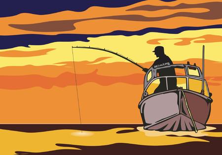 bateau de peche: La p�che dans le coucher de soleil