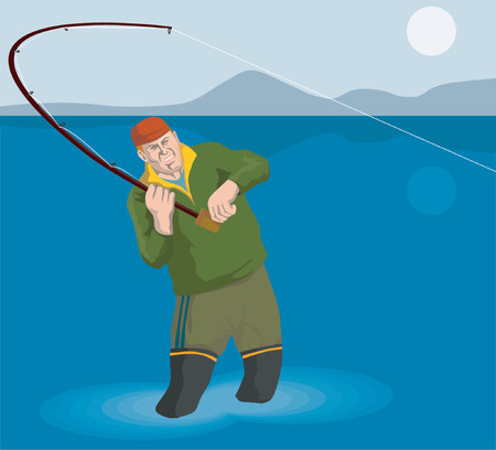 angling: Fisherman angling that big catch Illustration