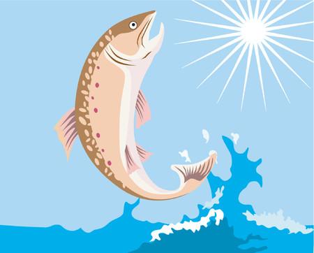 pez espada: Trucha saltando  Vectores