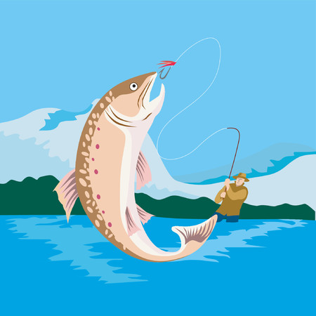 Fly fishing and what a catch Stock Vector - 1372848