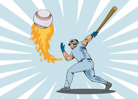 homer: Baseballer hitting a homer Illustration