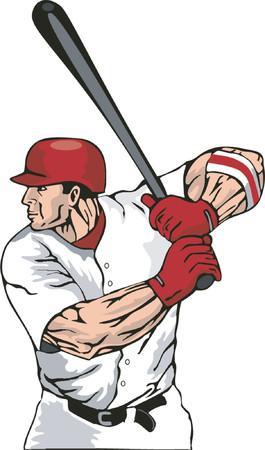 homerun: Baseball hitter ready at the bat Illustration