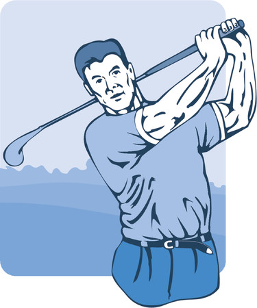 Golfer teeing off Vector