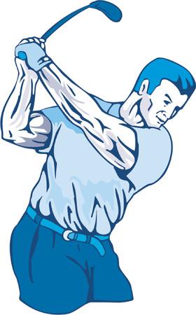 Golfer swinging Vector