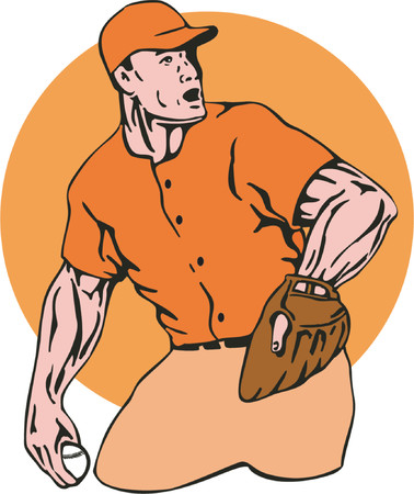 outfielder: Pitcher about to throw a strikeout