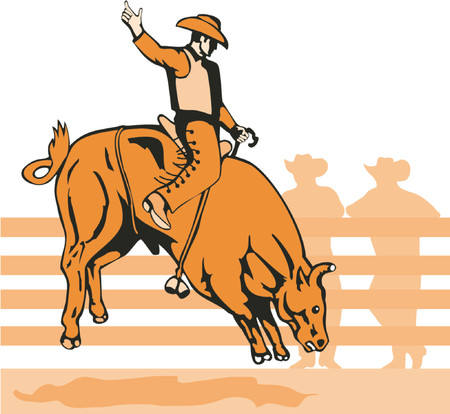 bucking horse: Rodeo cowboy riding a bull