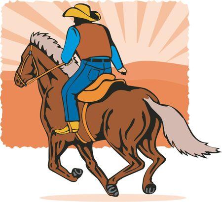 galop: Cow-boy � cheval en plein galop  Illustration
