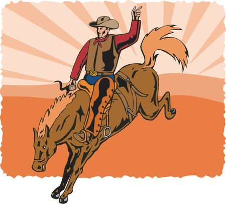bronco: Cowboy riding a bucking bronco with sunset background