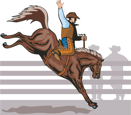 bucking horse: Cowboy riding a bucking bronco Illustration