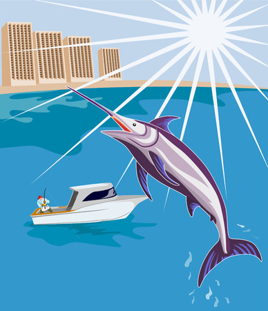 outdoor pursuit: Fisherman on boat with blue marlin Illustration