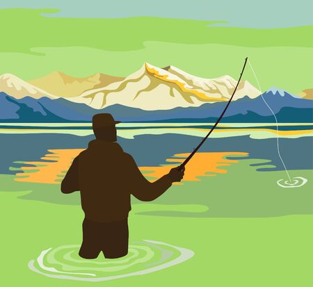 Fisherman angling for the big catch