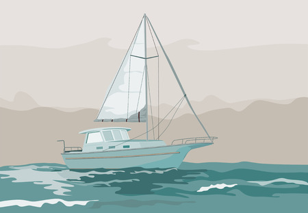 Sailboat on stormy seas Vector