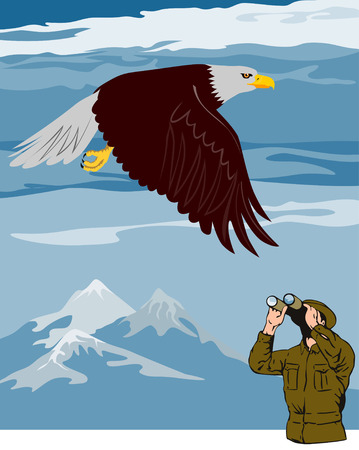 bird watcher: Eagle flying and a bird watcher