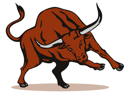 raging: Raging texas longhorn bull Illustration