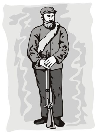 civil war: American civil war soldier Illustration