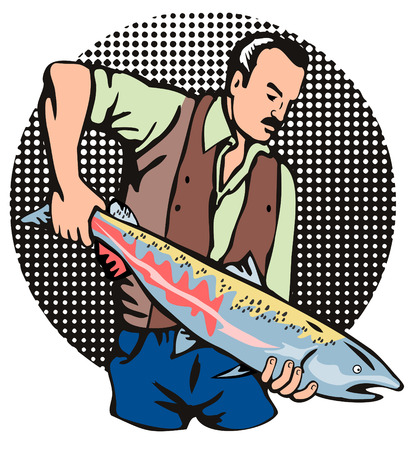 Fisherman holding up a salmon catch Vector