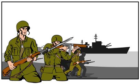 attacking: Mundo guerra atacando a dos soldados