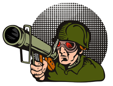 Soldier aiming  a bazooka at the camera Stock Vector - 1405053