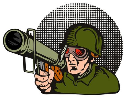 Soldier aiming  a bazooka at the camera Stock Vector - 1405053