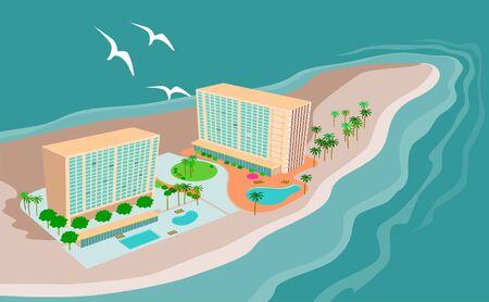 rekolekcje: Wyspa paradise beach OÅ›rodek widziany z powietrza Ilustracja