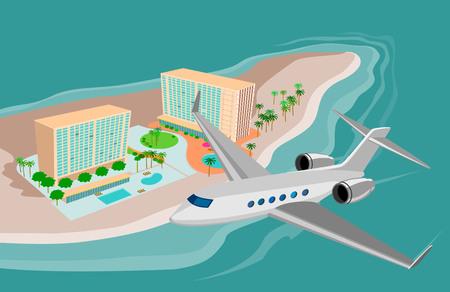 retreat: Jet plane hovering over island paradise