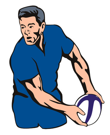 Rugby player passing the ball Vector