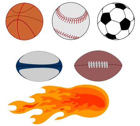 Práctica de diferentes deportes, pelotas