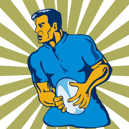 passing: El jugador de rugby pasando bola lateral Vectores