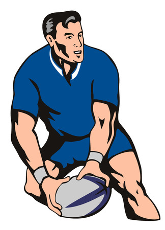 Rugby player about to deliver a winning pass Stock Vector - 1439932