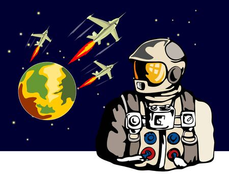 Astronaut with spaceship in the background Vector