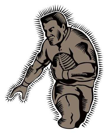 Rugby player running for a try woodcut style Vector
