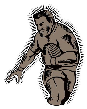essayer: Rugbyman en cours d'ex�cution pour un essai gravure sur bois de style