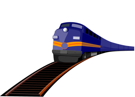 Train travelling on tracks straight up Illustration