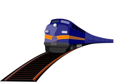 Trein rijdt op sporen recht omhoog