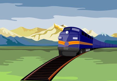 railroad track: Train travelling with mountains in the background