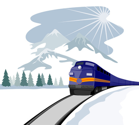 Train travelling during winter Vector