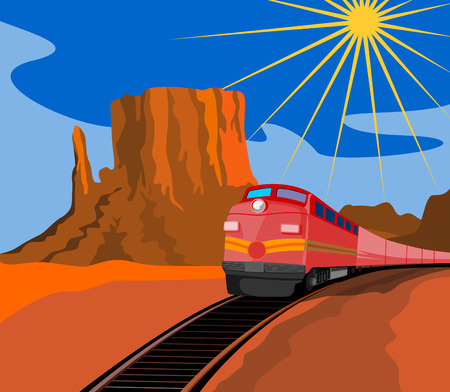 Train travelling with canyon in background Vector
