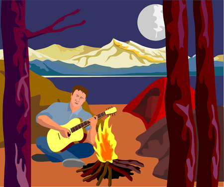 Camping guy cross-legged playing the guitar Vector