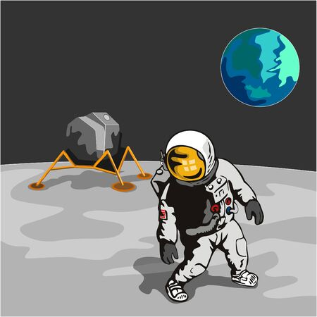 Astronaut walking on the moon with lunar module Illustration