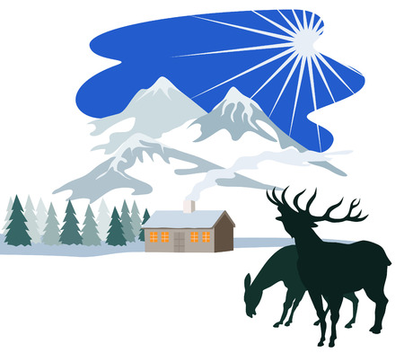 wilderness: Winter scene with cottage and deer in the foreground