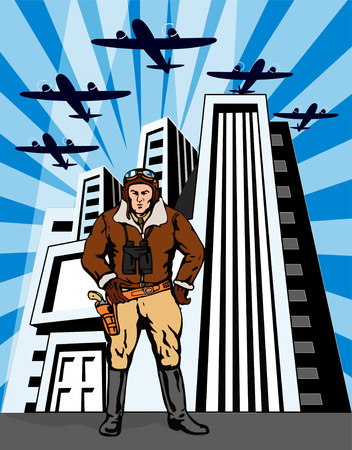 Space cowboy with buildings and planes in the background