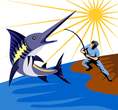 Fisherman fighting with a blue marlin 向量圖像