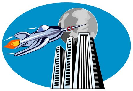 Rocketship flying over buildings Vector