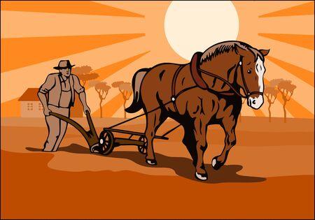 ploegen: Farmer plowing de velden Stock Illustratie