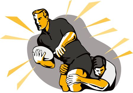 Rugby player being tackled Vector