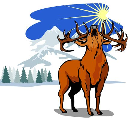 red deer: Roaring red deer winter landscape Illustration