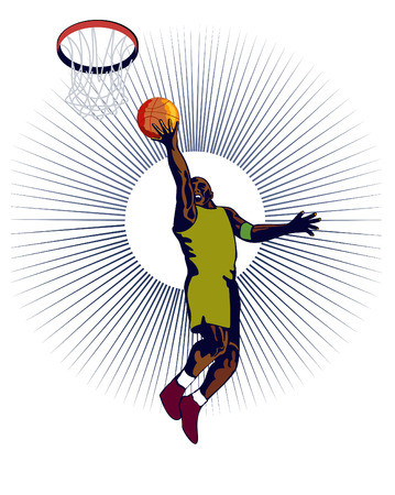 rebounding: Basketball player laying up on white background Illustration